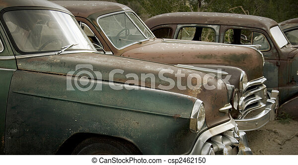 bilar, skrotupplag, gammal, rostning - csp2462150