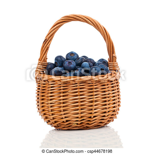 Bilberry in a basket on a white background - csp44678198