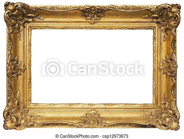Goldplatte Holzrahmen mit Ausschnittpfad - csp12973673