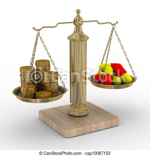 bild, freigestellt, bezahlt, treatment., kosten, medicine., 3d - csp10087153