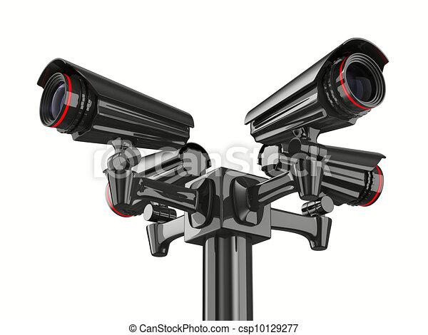 Vier Sicherheitskameras auf weißem Hintergrund. Isolierte 3D-Bild - csp10129277
