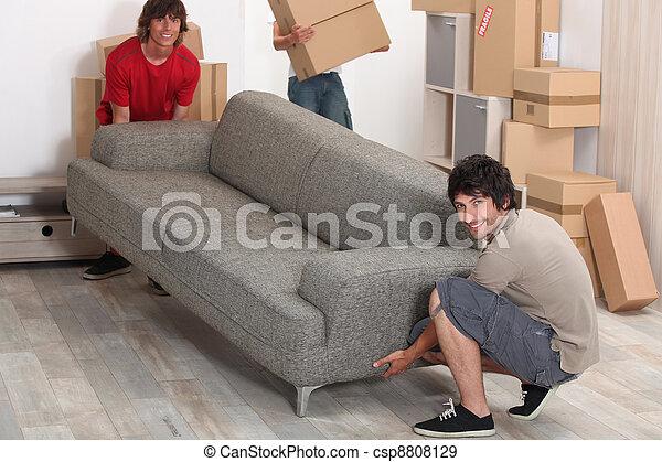 bild, friends, bewegen, couch - csp8808129