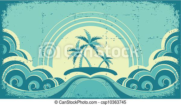 Vintage Seascape mit tropischen Palmen auf der Insel - csp10363745