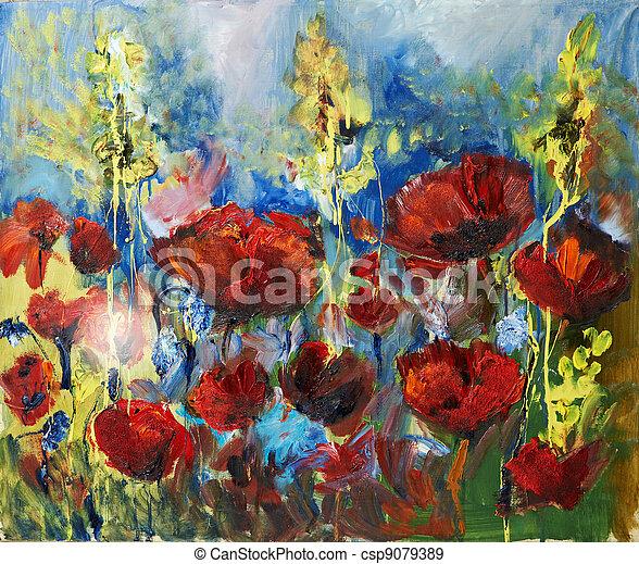 Ölgemälde, Bild von roter Frühlingspuppe - csp9079389