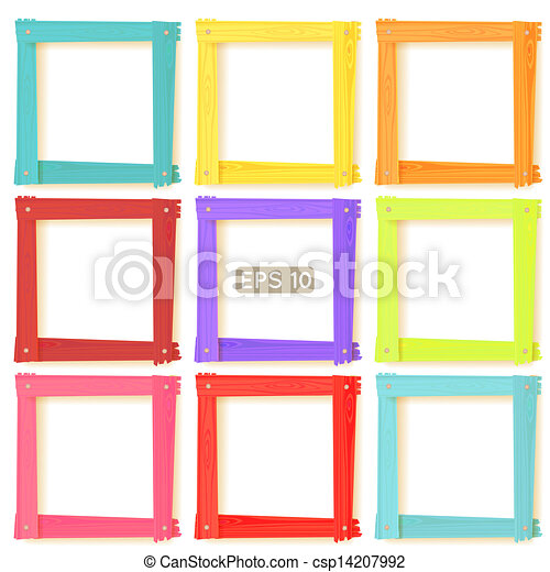 bild, satz, hölzern, rahmen, farbe, 9 - csp14207992