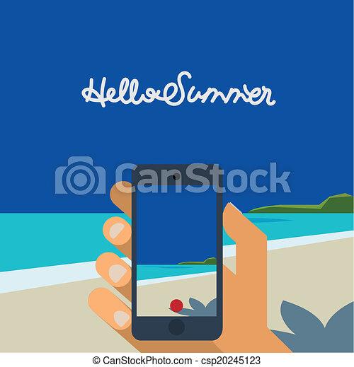 bild, smartphone, machen, hand holding, sandstrand, hallo, sommer - csp20245123