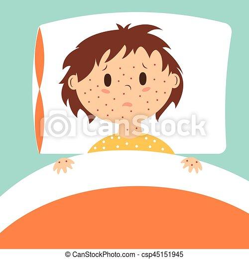 bild vektor bett ausschlag kind liegende bed. Black Bedroom Furniture Sets. Home Design Ideas