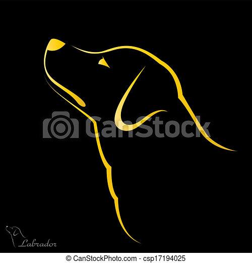 bild, vektor, labrador, hund - csp17194025