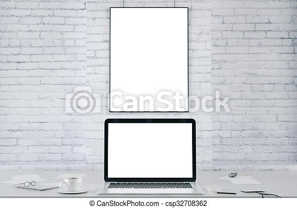 9d1eb8a9e47 Bild, wand, laptop, auf, schirm, leer, weißer ziegelstein, rahmen ...