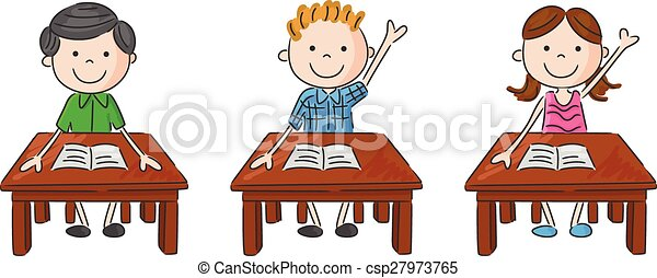 Tisch schule clipart  Clip Art Vektor von bilden kinder, tabl, karikatur, sitzen ...