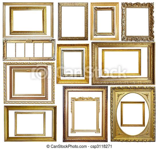 bilderrahmen, satz, gold, weinlese - csp3118271