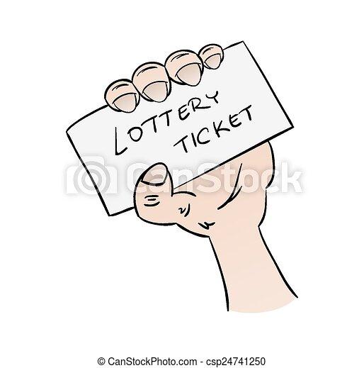 bilhete, loteria, mão - csp24741250