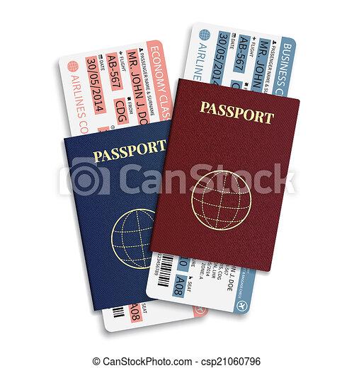 bilhetes, passageiro, ), (, barcode, bagagem, vetorial, linha aérea, cartão embarque, internacional, passport. - csp21060796