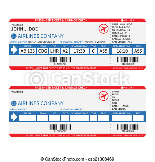bilhetes, passageiro, barcode., ), (, bagagem, vetorial, linha aérea, cartão embarque - csp21308469