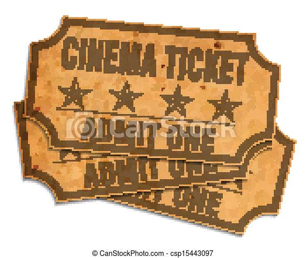 bilhetes, retro, cinema - csp15443097