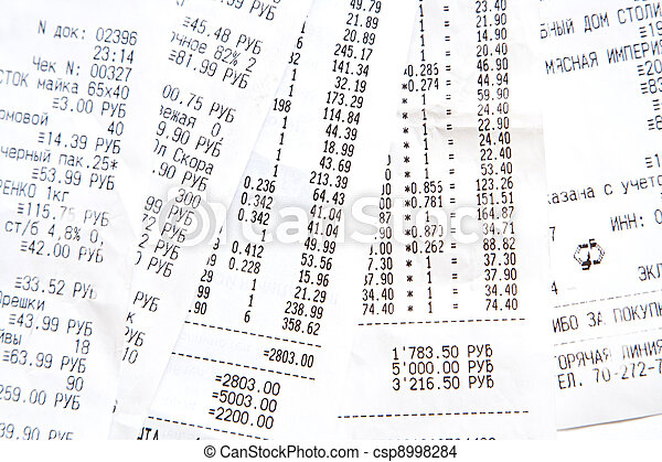 some printed bill from supermarket