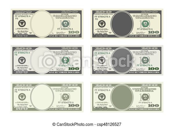 Design template 100 dollars banknote. bill one hundred dollars in ...