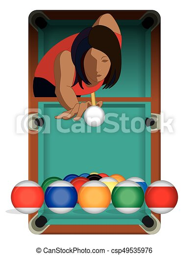 billards player female with billiards table - csp49535976