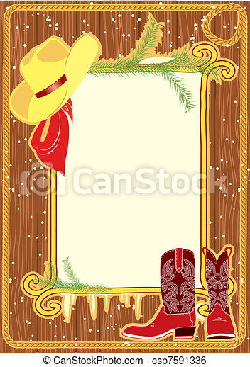 Billboard frame with cowboy hat and boots on wood wall - csp7591336