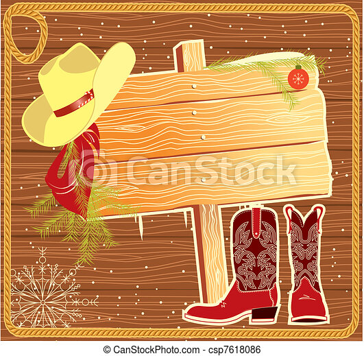 Billboard frame with cowboy hat. Vector christmas background for - csp7618086