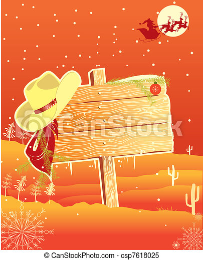 Billboard frame with cowboy hat.vector christmas background ...