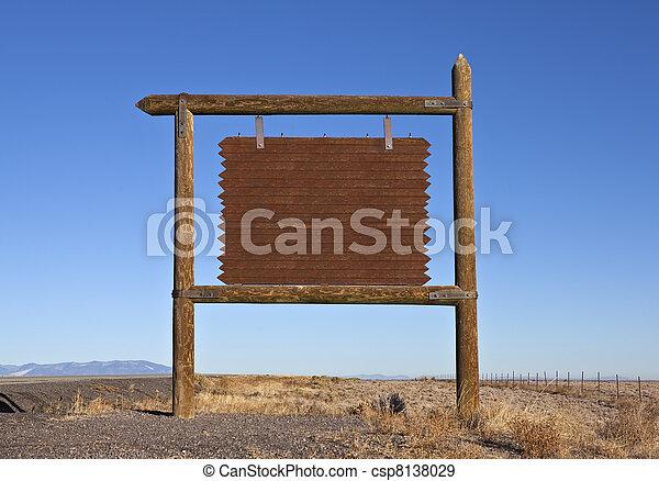 billboard, mensagem, ocidental, rodovia, em branco - csp8138029