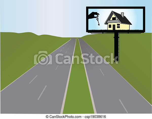 billboard on the highway, vector illustration - csp19038616