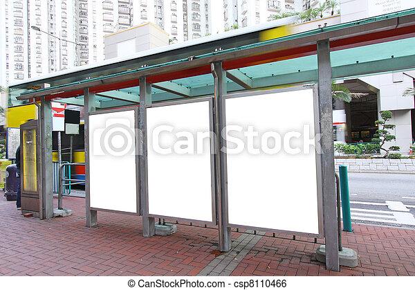 billboard, ponto ônibus, em branco - csp8110466