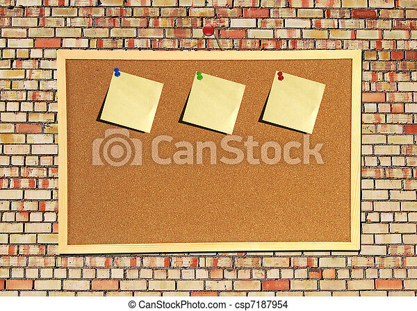 Billboard sign on an old red brick wall - csp7187954