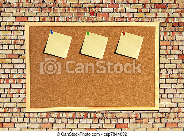 Billboard sign on an old red brick wall - csp7844032