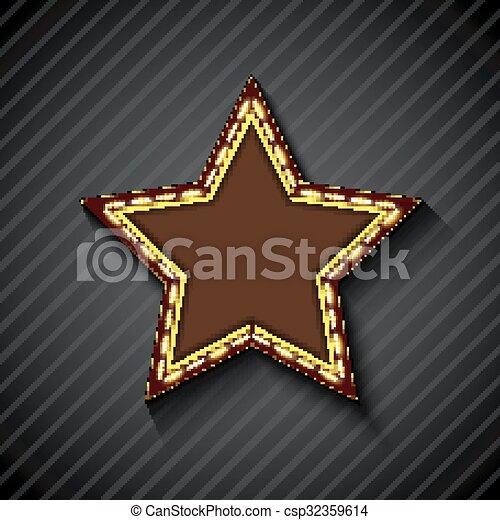 Billboard star sign on the on black - csp32359614