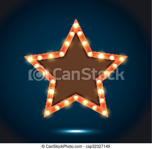 Billboard star sign on the on blue  - csp32327149