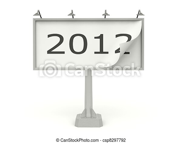 Billboard with 2012 New Year sign isolated on white - csp8297792