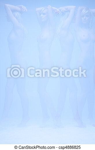 billede, kvinde, multipel, nøgne, surreal, eksponering - csp4886825