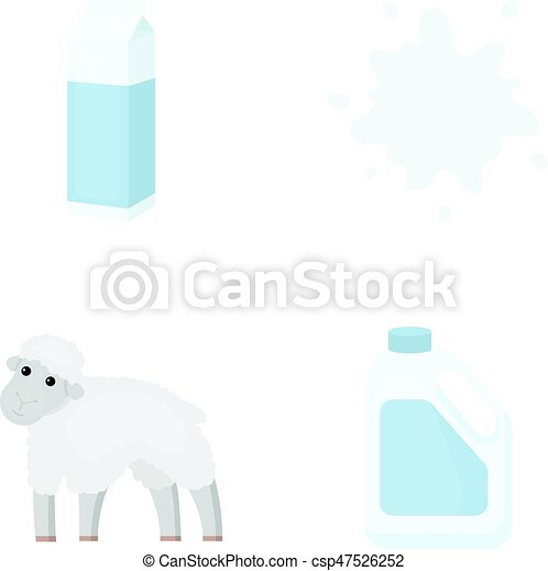 Billet pack, sheep.blue, canister.Moloko set collection icons in cartoon style vector symbol stock illustration web. - csp47526252