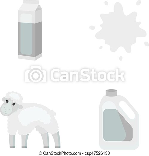 Billet pack, sheep.blue, canister.Moloko set collection icons in monochrome style vector symbol stock illustration web. - csp47526130