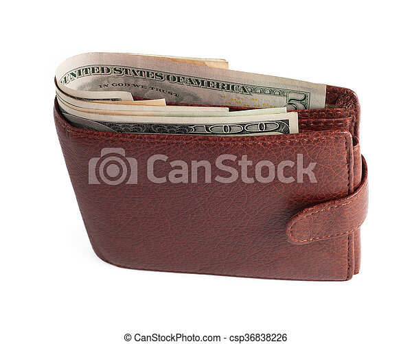 billetera, dólares, blanco, aislado - csp36838226