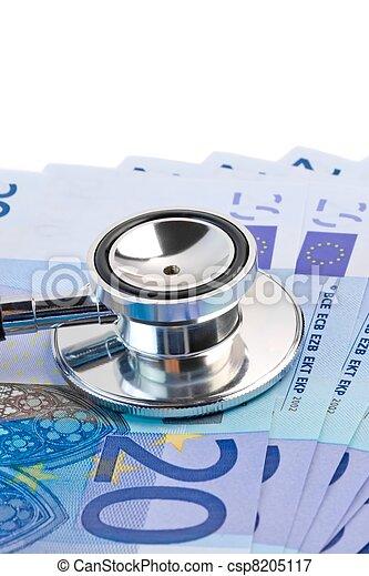billets banque, stéthoscope, 20-euro - csp8205117