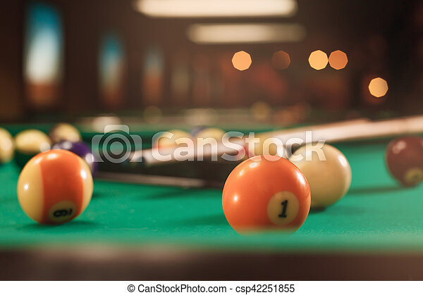 Billiard Balls Near By Cue On The Pool Table Blurred Background - Pool table near by