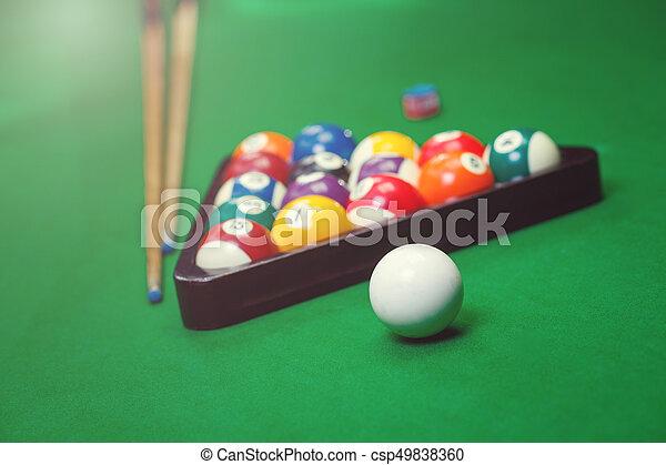 Billiard balls pool on green table - csp49838360