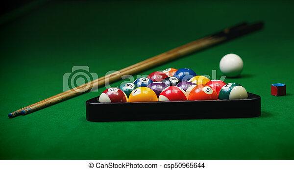 Billiard balls pool on green table - csp50965644