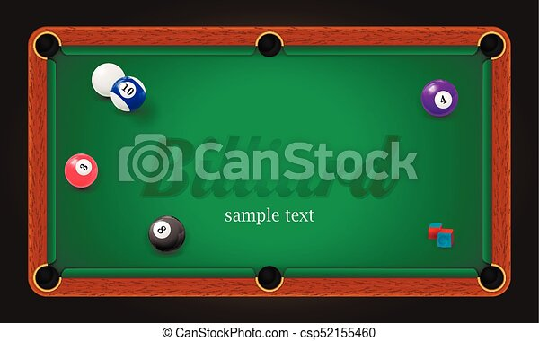 Billiard Poster. Pool Table Background Illustration With Billiard Balls And  Billiard Chalk