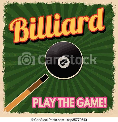 Billiard retro poster - csp35772643