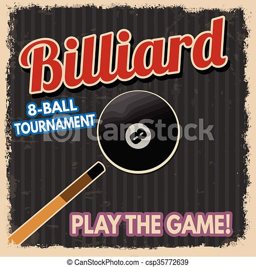 Billiard retro poster - csp35772639