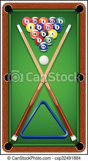 Billiard Set. Billard Balls, Cue And Billiard Triangle In A Pool Table.  Vector Illustration