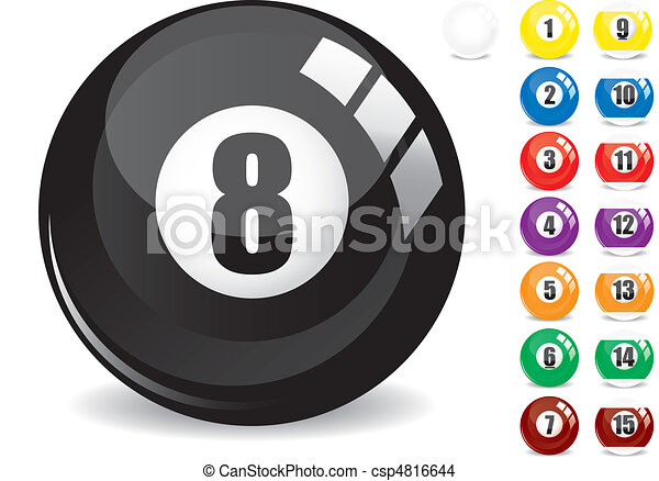 Billiard snooker - pool ball eight - 8 ball - black and othe fifteen 15 billiard balls, isolated on white, with reflections, vector illustration - csp4816644