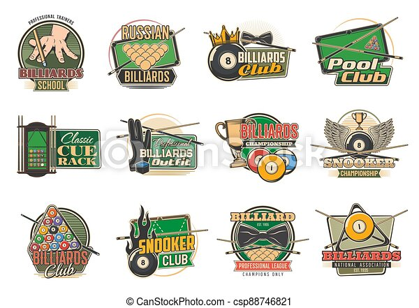 Billiard sport icons, pool, snooker tables, balls - csp88746821