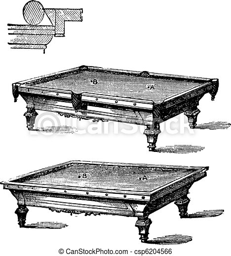 billiard table and carom billiards, tables, vintage engraving  - csp6204566