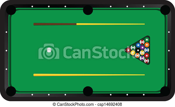 sc 1 st  Can Stock Photo & Billiard table with balls and cues. vector illustration.