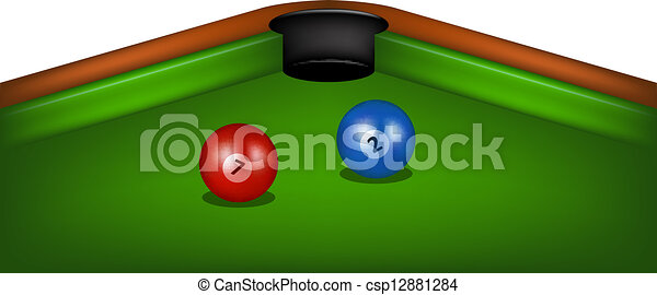 Billiard Table With Cue And Balls   Csp12881284